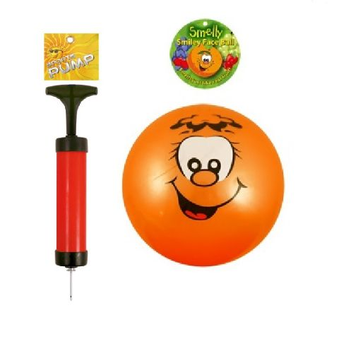 Smelly Fruits Smiley Face Foot Ball 20cm and Sports Pump Set (Random Colours)